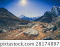 mountain landscape on the way to everest base camp 28174897