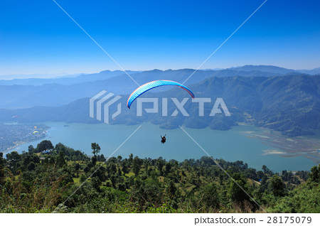 View of a paragliding in the air 28175079