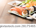 sushi with sauce and wasabi, Japanese food 28175465