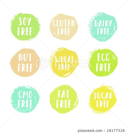 Set of allergen free badges. 28177526