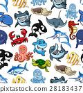 Sea fishes, ocean animals vector cartoon pattern 28183437