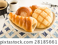 sweet roll, choco cornet, melon bread 28185661