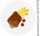 Beef steak and fries on plate 28187678