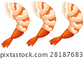 Cooked shrimps on white background 28187683