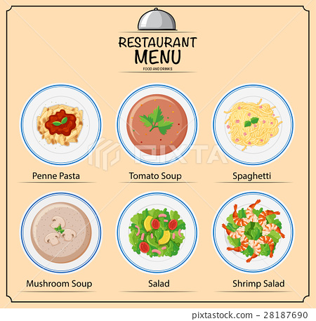 Different types of dishes on menu 28187690