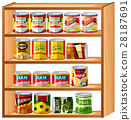 Many canned food on wooden shelves 28187691