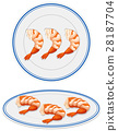 Cooked shrimps on plates 28187704