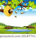Bees flying in the garden 28187741