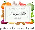 Card template with vegetables and fruits 28187768