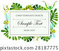Card template with insects and leaves frame 28187775