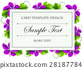 Card template with purple flowers 28187784