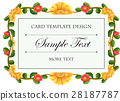 Card template with flowers around the frame 28187787
