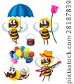 Bee characters in different actions 28187839