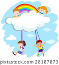 Kids playing swing on clouds 28187873
