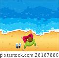 Man sitting on beach 28187880
