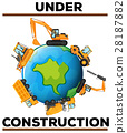 Under construction poster with machines on earth 28187882