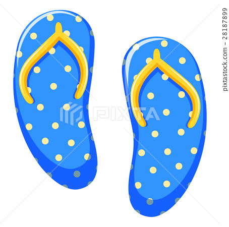 Beach sandals with yellow polkadots on blue 28187899