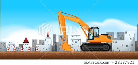 Bulldozer working at construction site 28187923