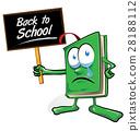sad book cartoon with signboard 28188112