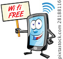 fun mobile cartoon with wi fi signboard 28188116