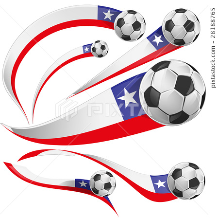 chile flag  with soccer ball  28188765