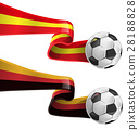 spain and germany flag with soccer ball 28188828