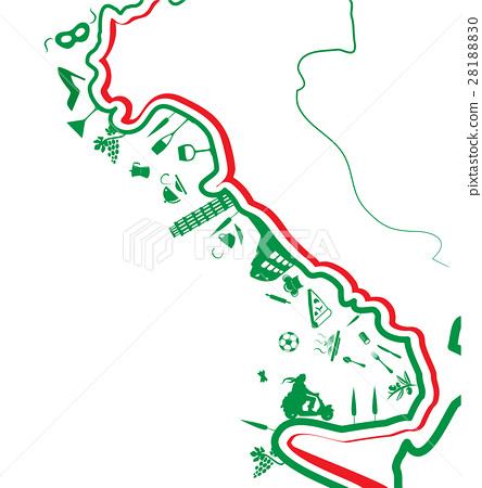 italian map whit symbol on white background 28188830