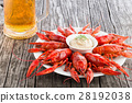 red crayfishes with glass of fresh lager beer 28192038