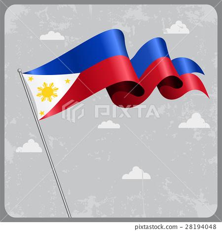 Philippines wavy flag. Vector illustration. 28194048