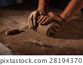 Hands of the potter knead clay. 28194370