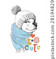 Cute dog in a hat and scarf. Too cute phrase. Hand 28194829