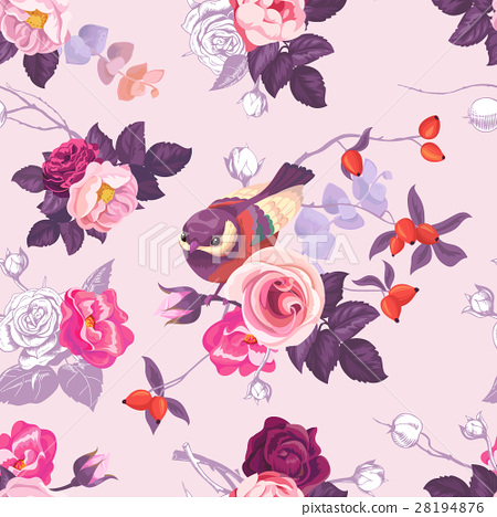 Floral seamless pattern with with monochrome and 28194876