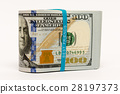 Stack of money in US dollars cash banknotes 28197373