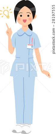 A woman wearing a pants style blue nurse clothes something 28197555