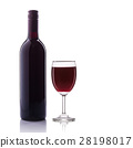 Bottle of red wine and glass. Studio shot isolated on white 28198017