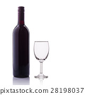 Bottle of red wine and glass. Studio shot isolated on white 28198037