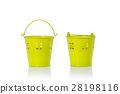 Small yellow vintage metal bucket. Studio shot isolated on white 28198116