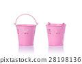 Small pink vintage metal bucket. Studio shot isolated on white 28198136