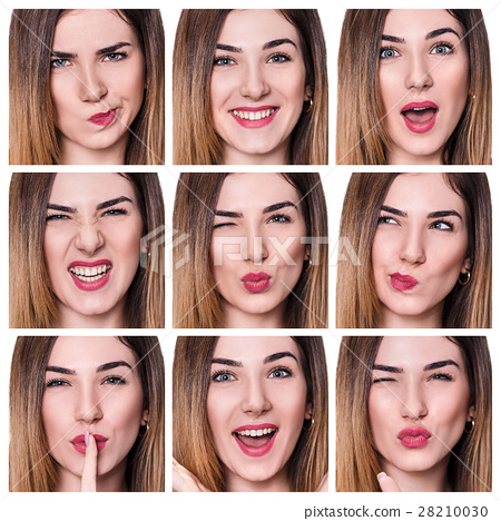 Collage of woman with different expressions 28210030