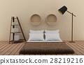 bedroom with bookshelf in soft room tone design 28219216