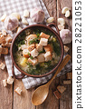 Delicious garlic soup with croutons 28221053