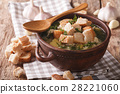garlic soup with homemade croutons 28221060