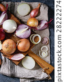 Variety of whole and sliced onion 28222274