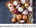 Variety of whole and sliced onion 28222276