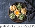 Colored fresh homemade pasta tagliatelle 28222335