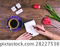 Moman hands writing greetings. Pink Tulip Flower 28227536
