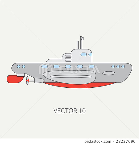 Line flat vector color icon naval submarine 28227690