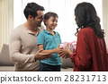 Parents presenting gift to son 28231713