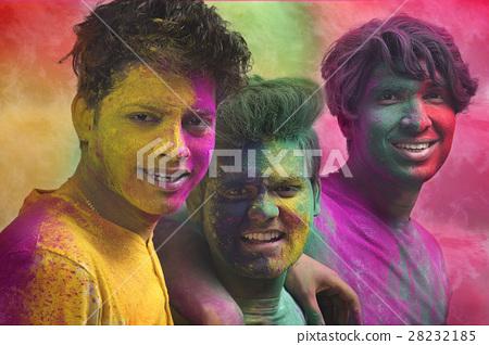 Portrait of Indian men playing holi 28232185