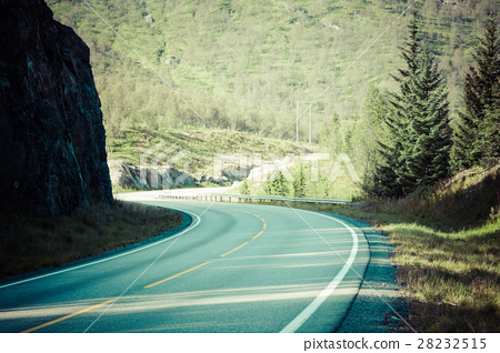 Scenic road and beautiful mountains in Norway 28232515